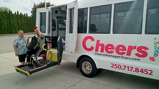Accessible Transportation Assistance Off Bus | Kelowna Wine, Boat, & Canyon Tours | Cheers! Okanagan